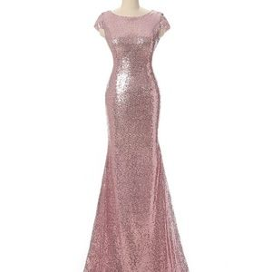 Rose gold (pink) sequin gown- pageant/wedding/prom